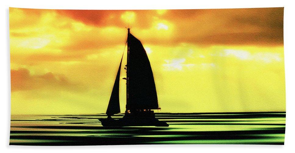 Sail Bath Sheet featuring the photograph Dusk by Bill Cannon