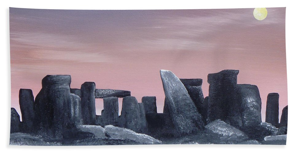 Dusk Hand Towel featuring the painting Dusk On The Winter Solstice At Stonehenge 1877 by Alys Caviness-Gober