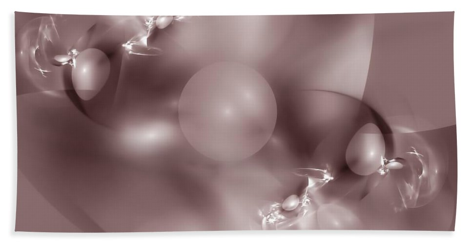 Abstract Bath Sheet featuring the digital art Dusky Pink Dreams by Georgiana Romanovna