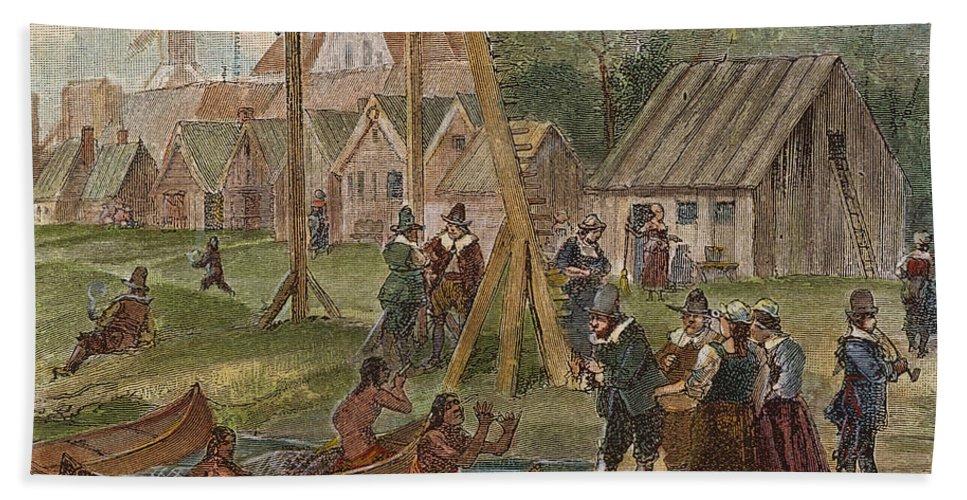 17th Century Bath Sheet featuring the photograph Dutch & Native American Trade by Granger