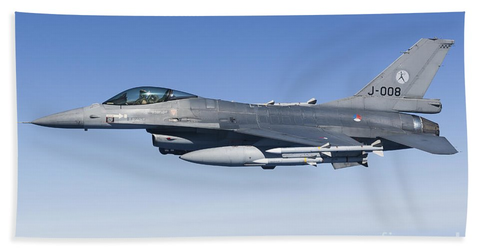 Aim-120 Bath Sheet featuring the photograph Dutch F-16am During A Combat Air Patrol by Gert Kromhout