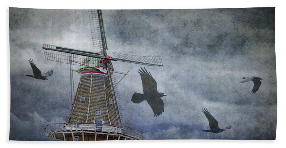 Art Hand Towel featuring the photograph Dutch Windmill With Ravens by Randall Nyhof