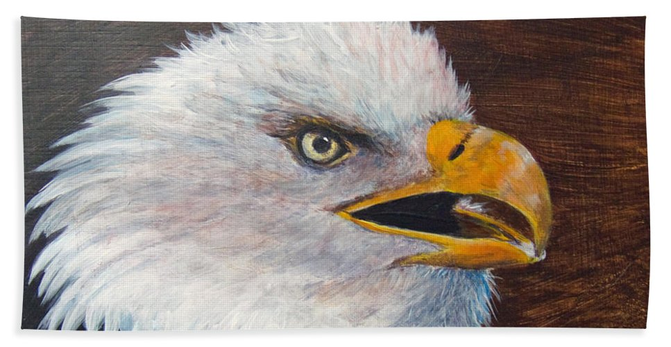 Eagle Bath Sheet featuring the painting Eagle Study by Dee Carpenter