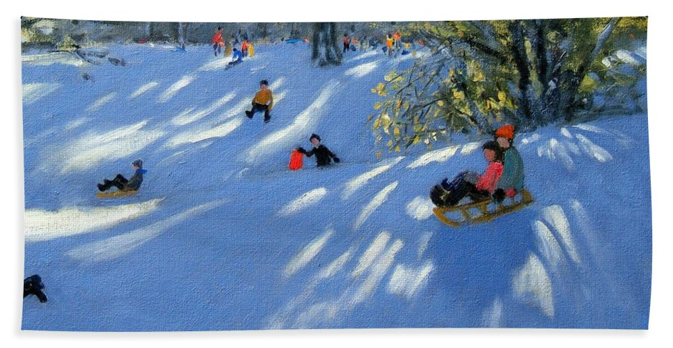 Sledging Hand Towel featuring the painting Early Snow by Andrew Macara