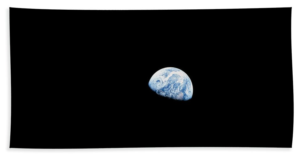 View From Space Bath Sheet featuring the photograph Earth Rising Above The Lunar Horizon by Stocktrek Images