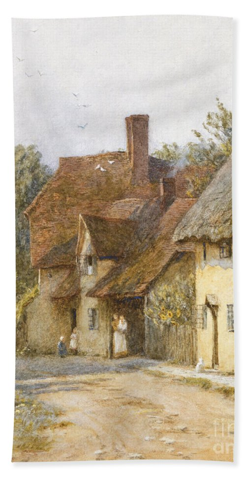 Village; Street Scene; Cottage; Cottages; English; Landscape; Rural; C19th; C20th; Victorian Bath Sheet featuring the painting East Hagbourne Berkshire by Helen Allingham