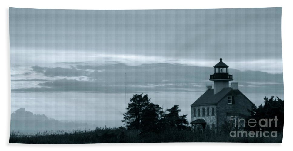 East Point Lighthouse Bath Sheet featuring the photograph East Point Light At Dusk by Nancy Patterson