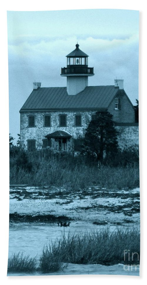 East Point Lighthouse Bath Sheet featuring the photograph East Point Light In The Clouds by Nancy Patterson