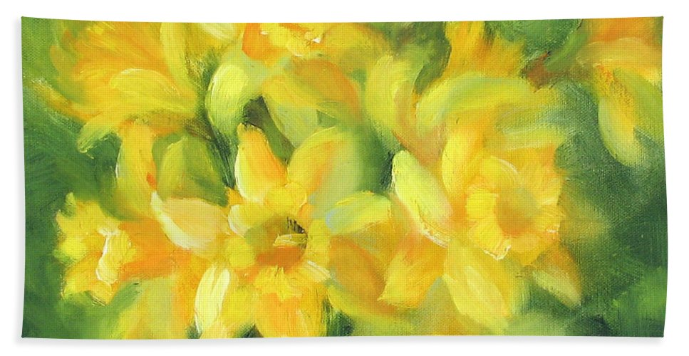 Daffodils Bath Sheet featuring the painting Easter Daffodils by Karin Leonard