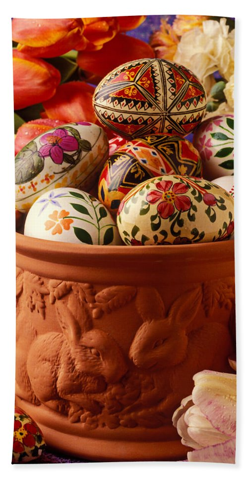 Easter Eggs Egg Hand Towel featuring the photograph Easter Eggs In Flower Pot by Garry Gay