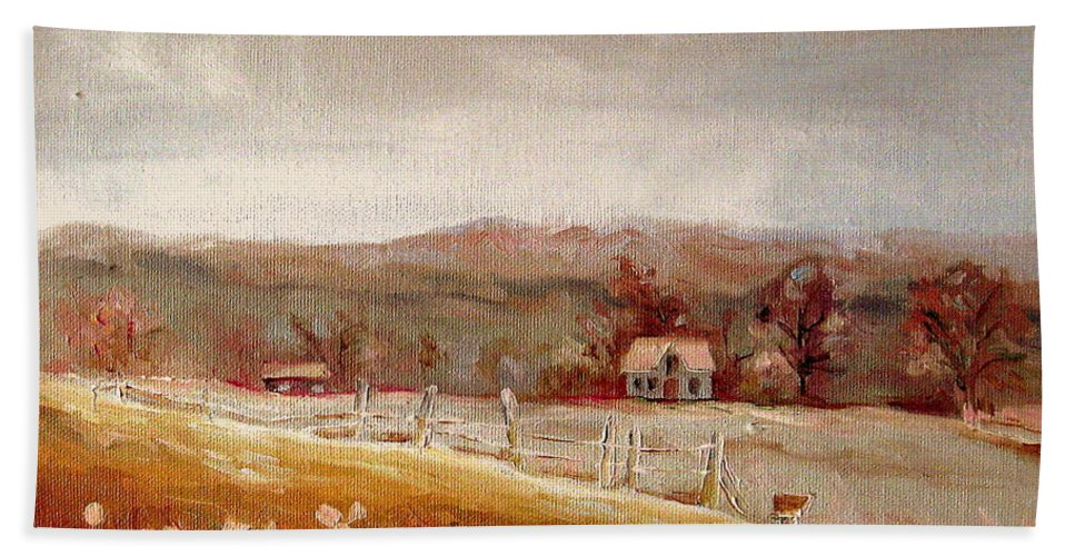 Landscape Bath Sheet featuring the painting Eastern Townships Quebec Painting by Carole Spandau