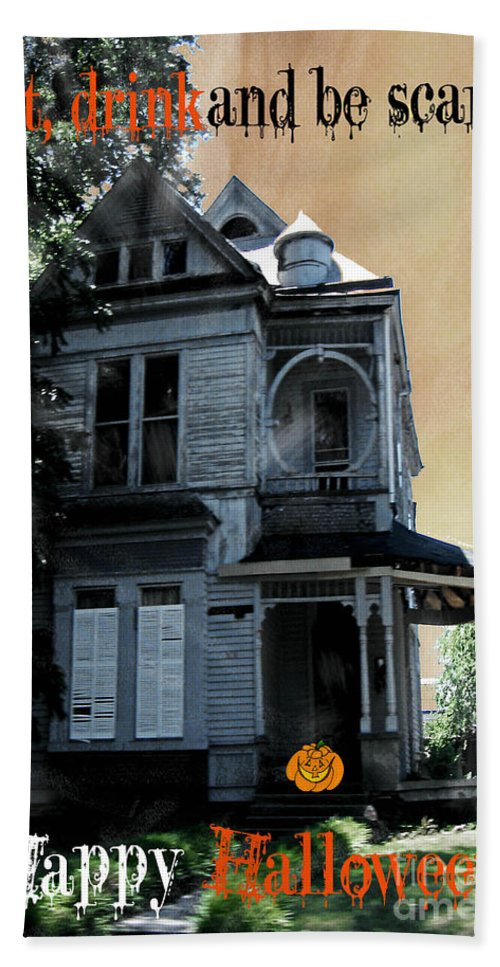 Victorian House Hand Towel featuring the digital art Eat Drink And Be Scary by Lizi Beard-Ward