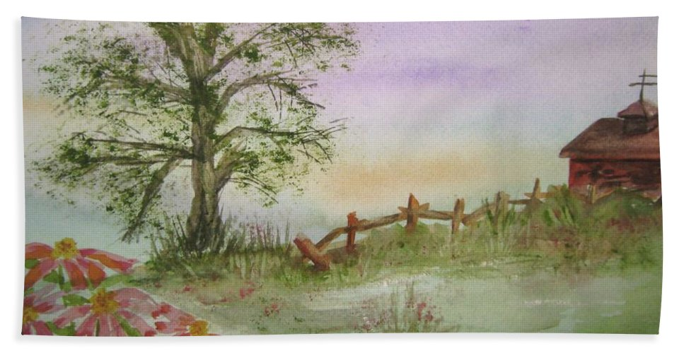 Echinacea Bath Sheet featuring the painting Echinacea And Crooked Fence by Ellen Levinson