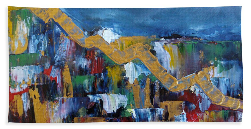 Abstract Bath Sheet featuring the painting Economic Meltdown by Judith Rhue
