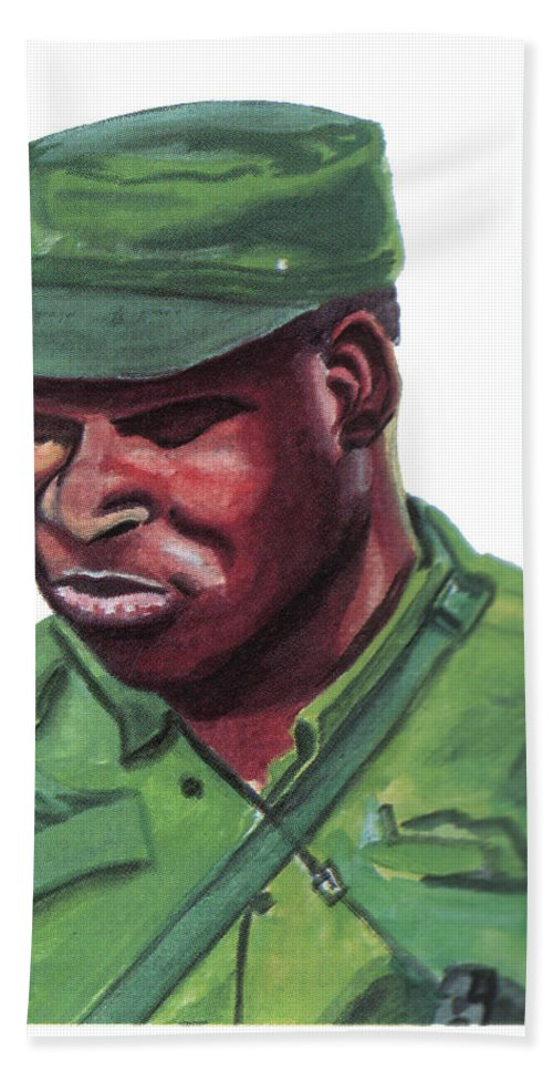 Portraits Bath Sheet featuring the painting Eduardo Mondlane by Emmanuel Baliyanga