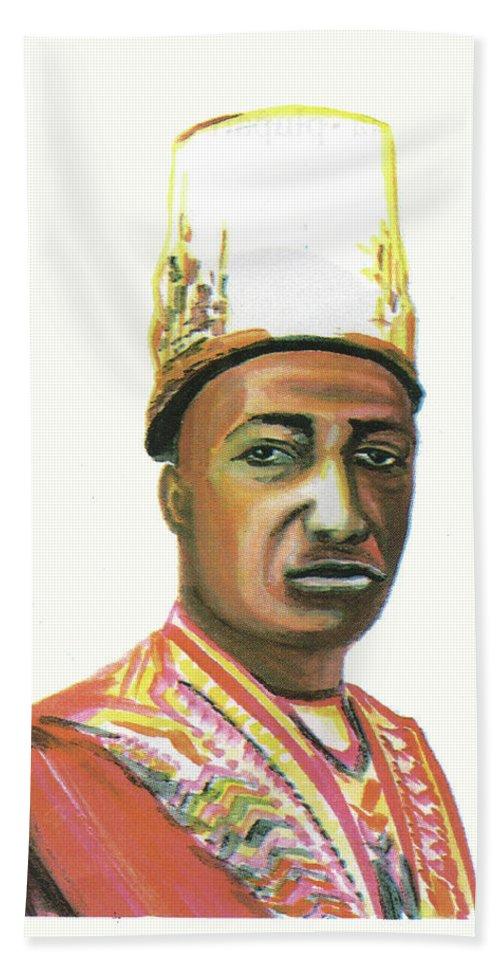 Portraits Bath Sheet featuring the painting Edward Frederick Mutesa II by Emmanuel Baliyanga
