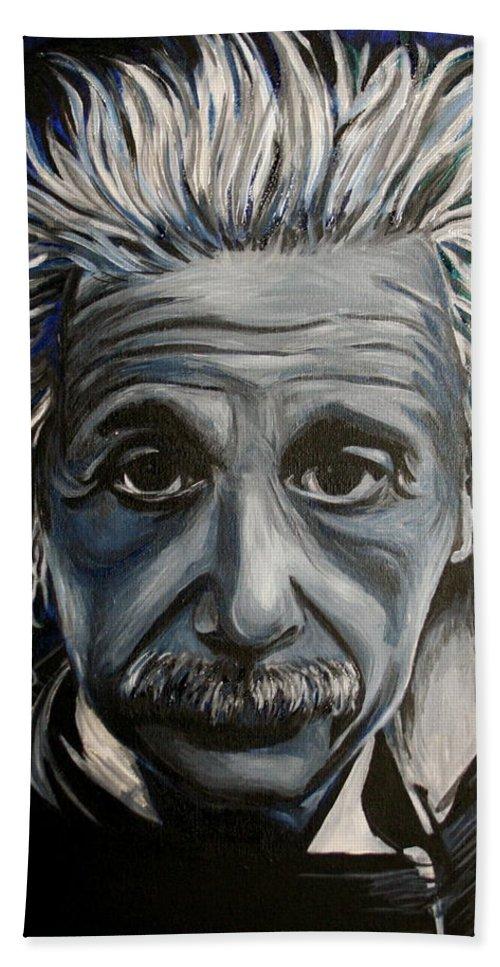 Einstein Hand Towel featuring the painting Einstein by Kate Fortin