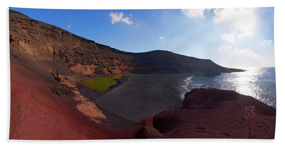 Lehtokukka Bath Sheet featuring the photograph El Golfo Panorama by Jouko Lehto