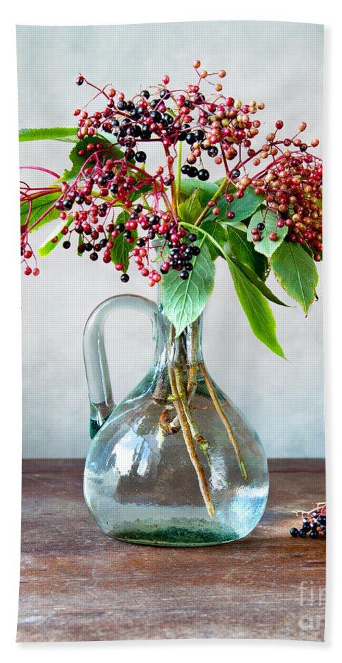 Autumn Hand Towel featuring the photograph Elderberries 06 by Nailia Schwarz