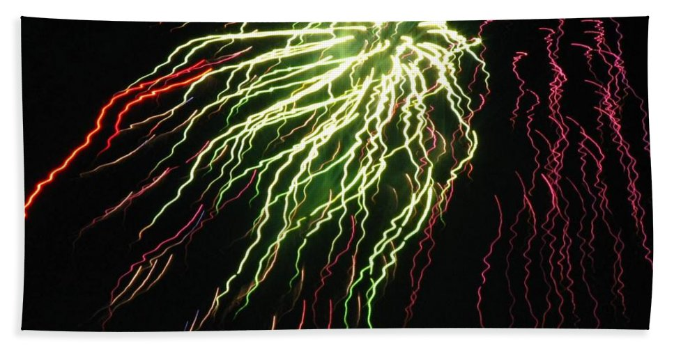 Fireworks Bath Sheet featuring the photograph Electric Jellyfish by Rhonda Barrett