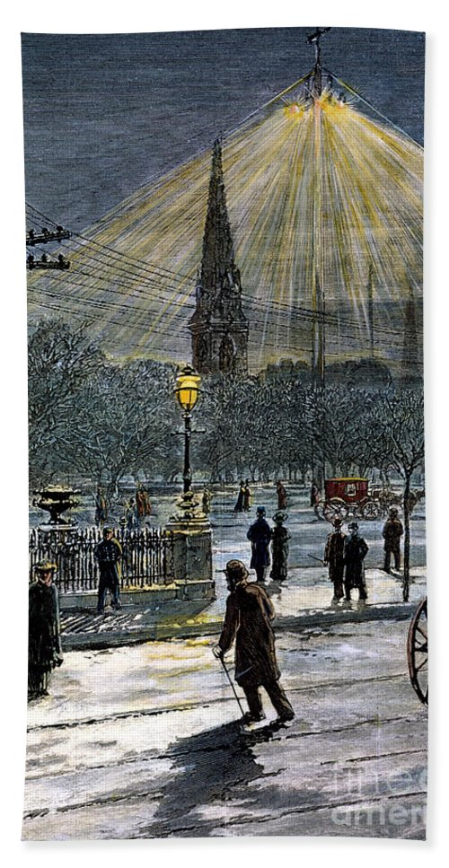 1881 Bath Sheet featuring the photograph Electric Streetlight, 1881 by Granger