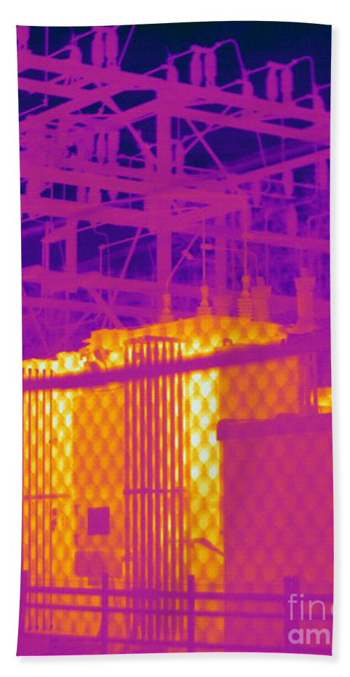 Thermogram Hand Towel featuring the photograph Electrical Substation by Ted Kinsman