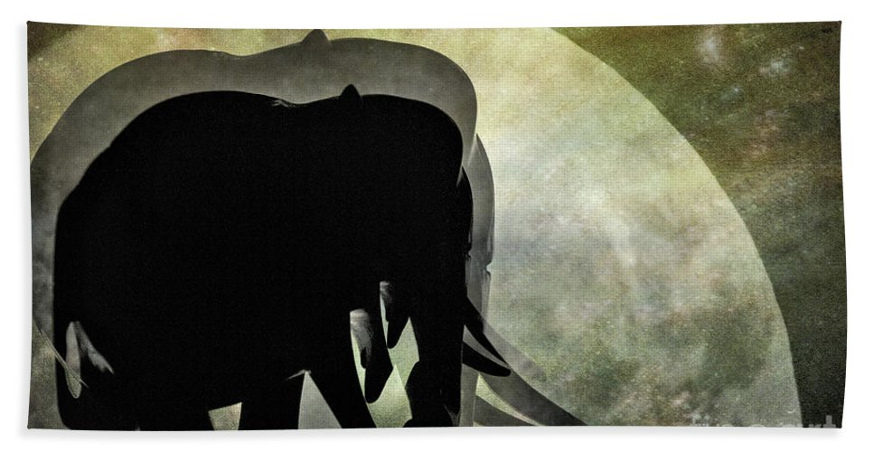 Photography Hand Towel featuring the photograph Elephants On Moonlight Walk 2 by Kaye Menner