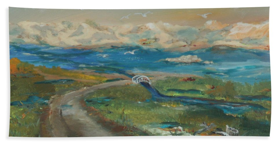 Elkhorn Slough Hand Towel featuring the painting Elkhorn Slough by Gail Daley