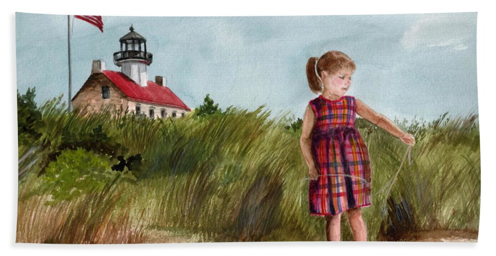 East Point Lighthouse Bath Sheet featuring the painting Ella At East Point Light by Nancy Patterson