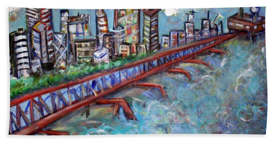 New York City Bath Sheet featuring the painting Ellis And Wall Street by Jason Gluskin