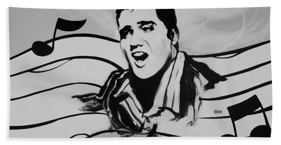 Black And White Hand Towel featuring the photograph Elvis In Black And White by Rob Hans