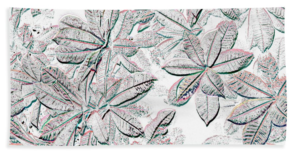 Fossil Like Bath Sheet featuring the photograph Embossed Crotons by Tom Wurl