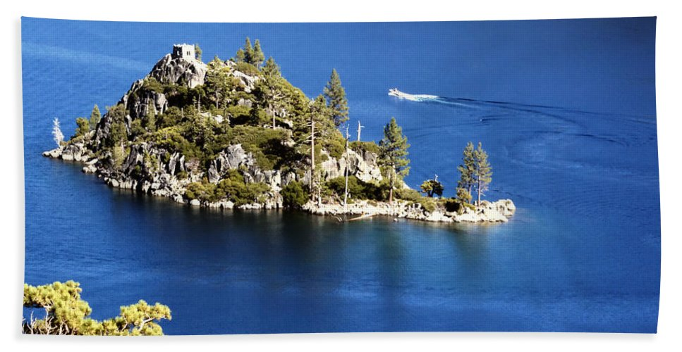 Lake Tahoe Bath Sheet featuring the photograph Emerald Bay Lake Tahoe by Linda Dunn