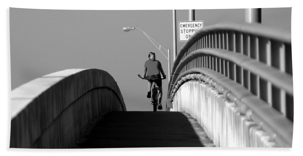 Fine Art Photography Bath Sheet featuring the photograph Emergency Stopping Only by David Lee Thompson