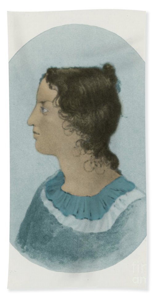 Bronte Hand Towel featuring the photograph Emily Bronte, English Author by Photo Researchers