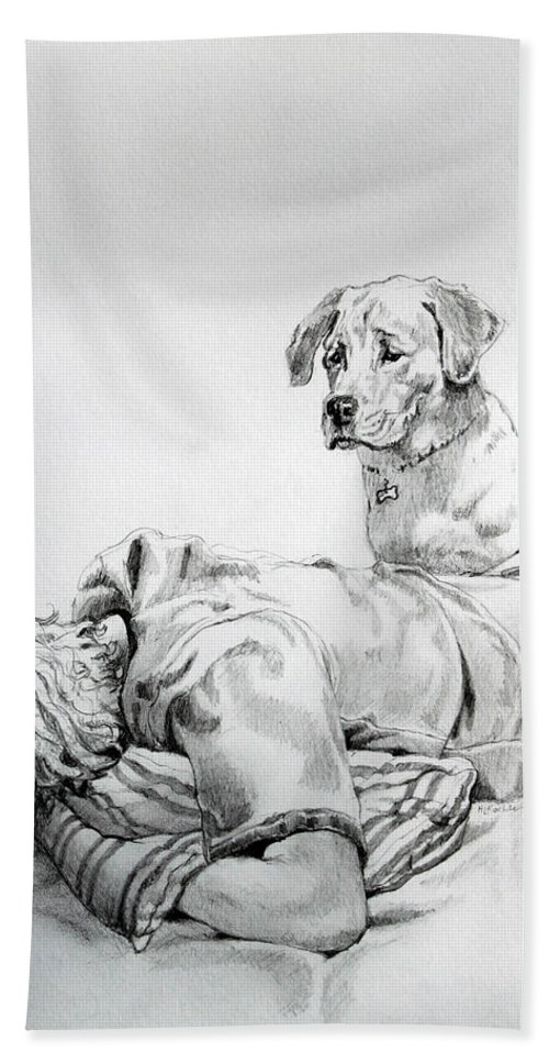 Dog Hand Towel featuring the drawing Empathy by Hanne Lore Koehler