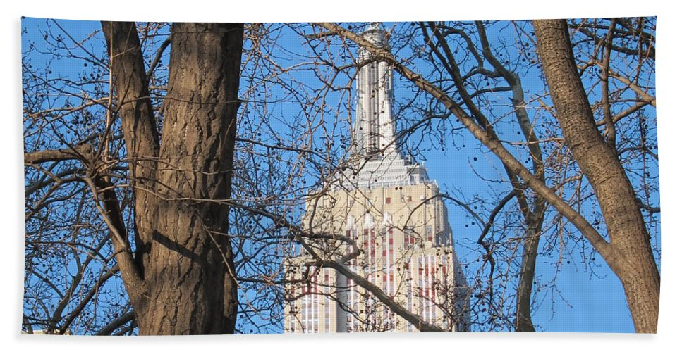 Empire State Bath Sheet featuring the photograph Empire State Building by Stefa Charczenko