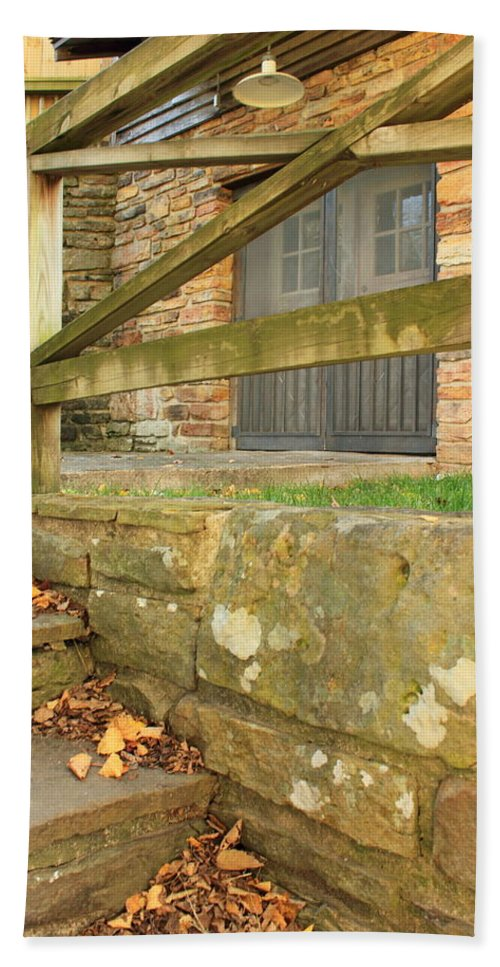 Landscape Bath Sheet featuring the photograph Empty Steps by Bryan Noll