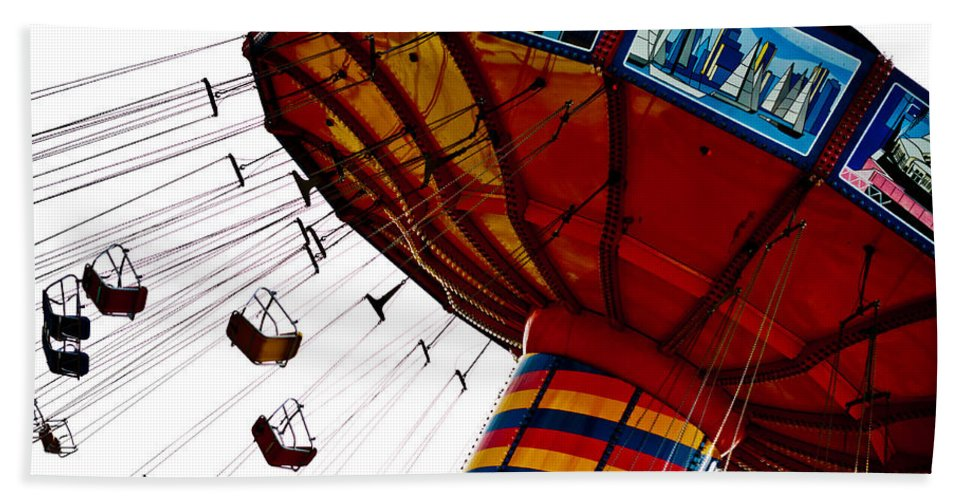 Navy Pier Hand Towel featuring the photograph Empty Swing Ride by Anthony Doudt