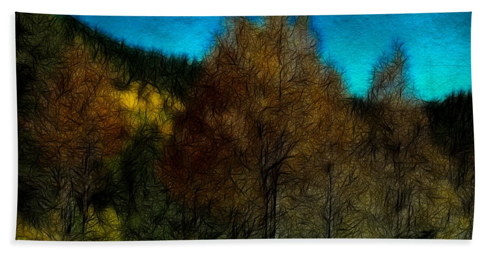 Trees Hand Towel featuring the photograph Enchanted Evening In The Forest by Ellen Heaverlo