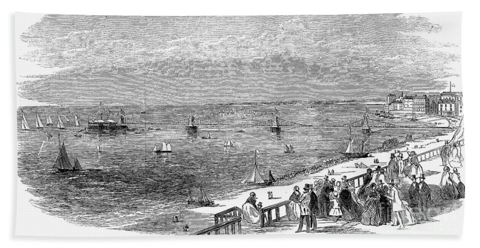 1853 Hand Towel featuring the photograph England: Brighton, 1853 by Granger