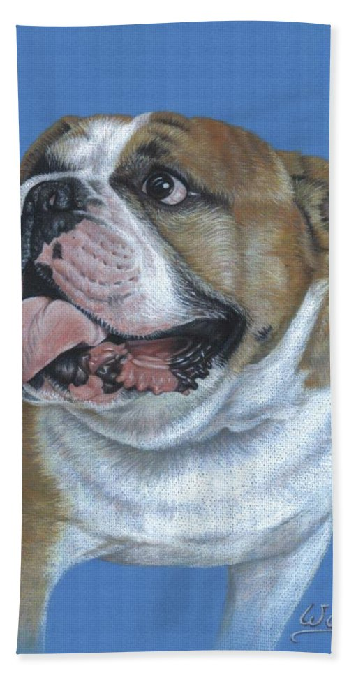 Dog Hand Towel featuring the pastel English Bulldog by Nicole Zeug