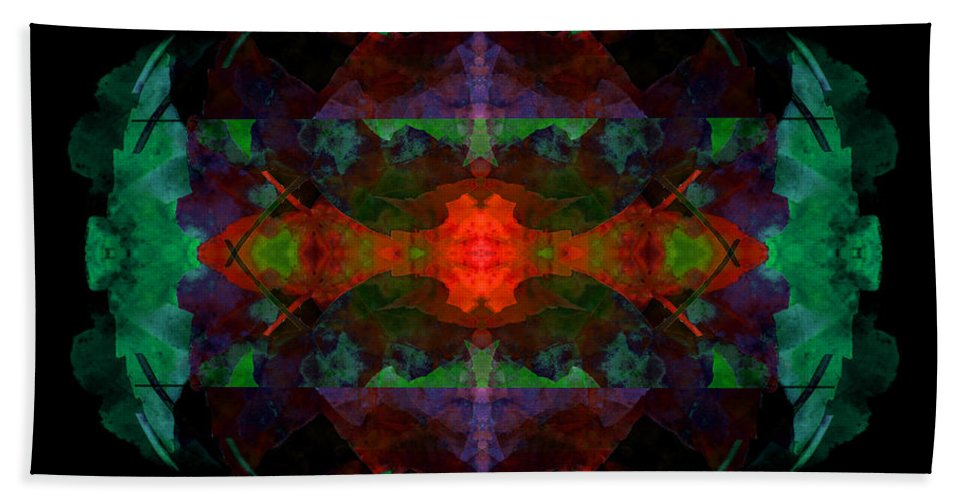 Abstract Bath Sheet featuring the digital art Enigma 7 by Lynda Lehmann