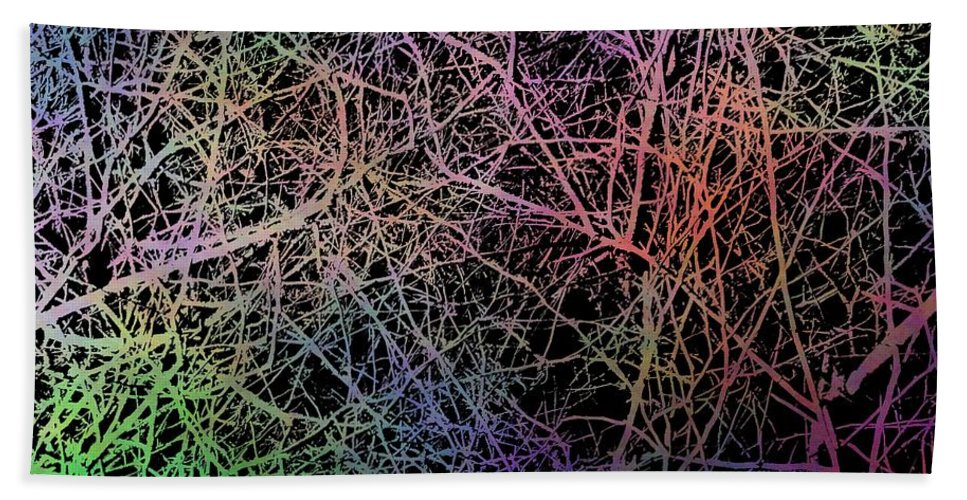 Abstract Bath Sheet featuring the digital art Entangled by Tim Allen