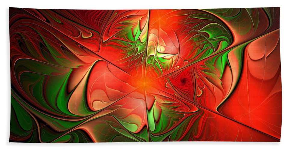Eruption Bath Sheet featuring the digital art Eruption - Abstract Art by Georgiana Romanovna