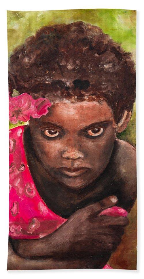 Girl Bath Sheet featuring the painting Etiopien Girl by Shuly Haimsohn Weiner
