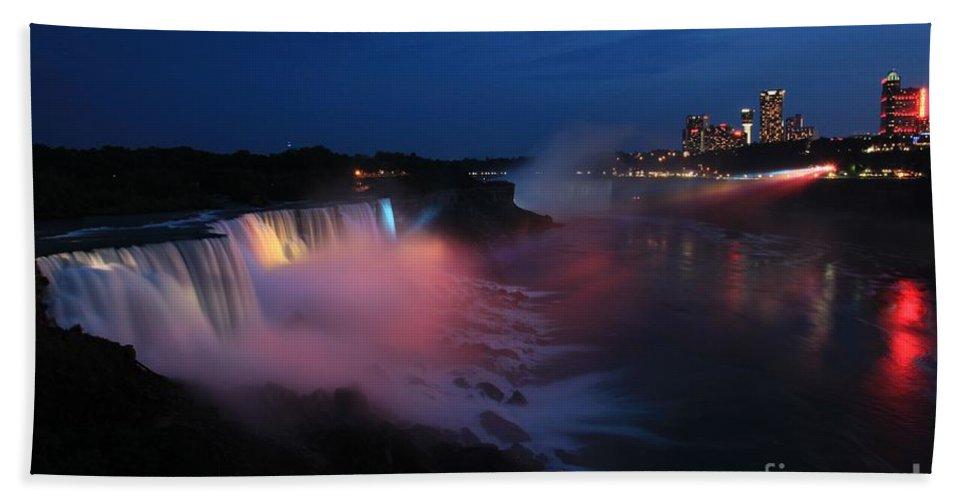 Niagara Falls Hand Towel featuring the photograph Evening At Niagara by Adam Jewell