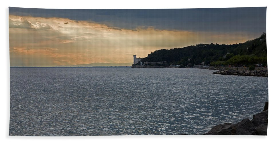 Miramare Bath Sheet featuring the photograph Evening Light Over Miramare Castle by Ian Middleton