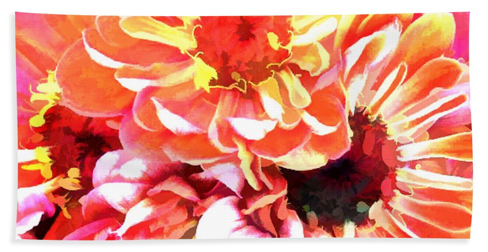 Flower Flowers Garden Zinnias Zinnia Abstract Orange Colorful Flora Floral Nature Natural Hand Towel featuring the painting Explosion Of Bright Zinnias by Elaine Plesser