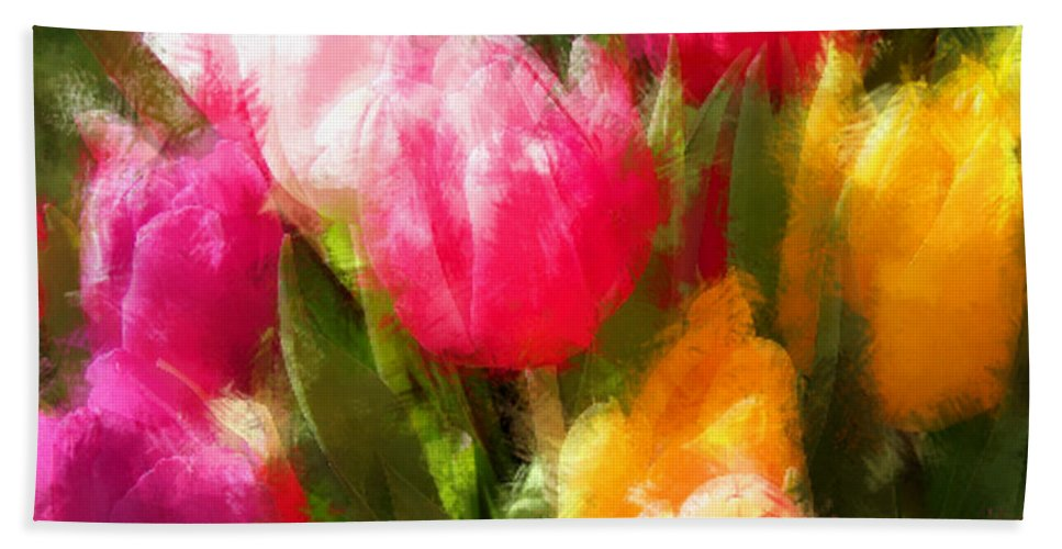 Tulip Hand Towel featuring the painting Expressionistic Spring Tulip Explosion by Elaine Plesser